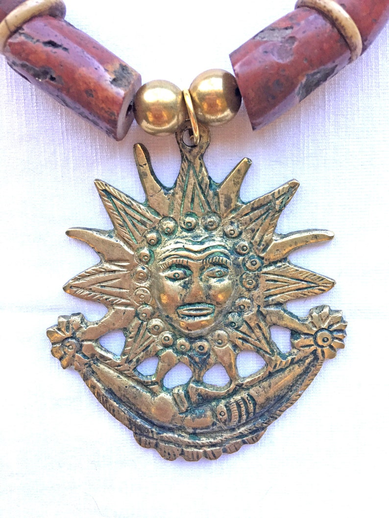 bold ethnic statement piece of bauxite and brass beads with huge brass pendant chunky Big SUN AND MOON