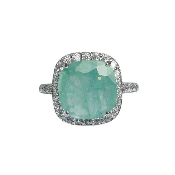 Natural Green Emerald Ring Cushion Cut Colombian Natural Green Emerald Ring 925 Sterling Silver May Birthstone Loose Gemstone Ring DV-821
