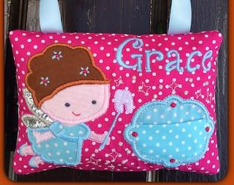 Tooth Fairy Cushion, personalised Tooth Pillow for Girl, Pink Tooth fairy pillow, personalized tooth fairy cushion, nursery decor