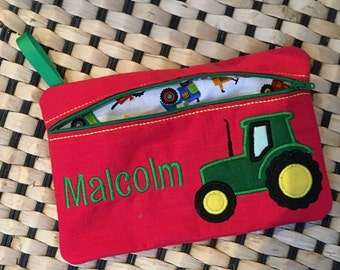 Pencil case for a boy, Fire truck pencilcase, Dinosaur theme gift, Gift for a boy, Stocking filler for a boy, Transport theme gift