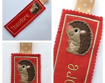 Personalised BOOKMARK, Bookmarks for kids & children, Hedgehog, Tiger, animal, Stocking fillers, CUSTOMISED, Choice of design
