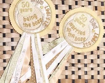 Golden Wedding Anniversary gift, 50th Wedding Anniversary Keepsake, 25th Silver, 40th Ruby Wedding Memento, Funny Personalised Rosette Badge
