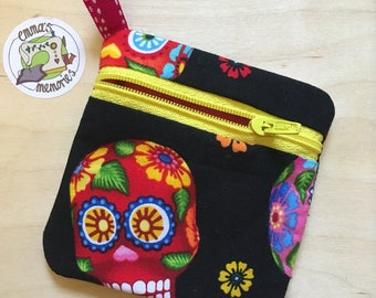 Dia de los muertos gift, Day of the Dead gift, Coin Change Purse Wallet, Sugar Skull purse, Zipped purse, Zipped card pouch, Ready to post