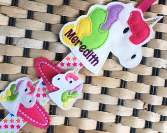 Hair clips & Clippie Holder SET * Personalised * Gift for a Girl * Perfect birthday gift * Hair Organiser, Unicorn Owl Butterfly Cupcake