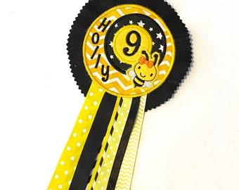 THEMED Personalised Birthday Rosette Badge * Pirate Cricket Unicorn Dragon Football Bee Mermaid Fairy Princess * 100% Customised *