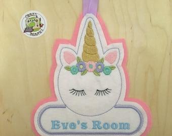 Unicorn door sign, Unicorn door hangar, Personalised Unicorn door name, Bedroom door sign, unicorn bedroom decor, unicorn decoration,