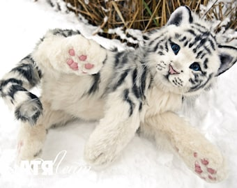 FOR EXAMPLE (for order) - medium White Tiger - handmade stuffed realistic animal