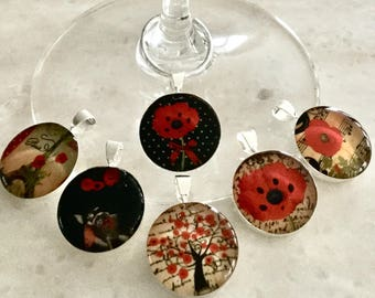 Glass identifiers, Jolies Coquelicots, 18 & 20 mm, host and hostess, gift. Set of 6.