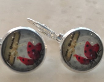 Delicate earrings Lucky Ladybug 12mm