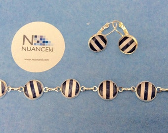 Delicate Bracelet and earrings/ NAVY and WHITE stripe