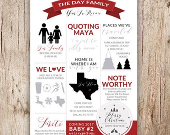 2-Sided Printable Christmas Infographic Year In Review Card With Photo Collage