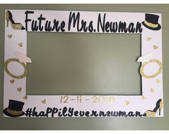 Engagement photo booth frame prop -wedding photo frame prop- bridal shower photo frame prop- bridal shower photo booth
