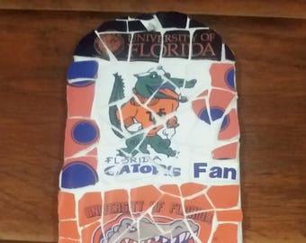 "Gator (University of Florida) ""Fan"" - Mosaic from recycled materials"