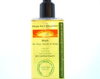 Unscented Organic Face, Hand & Body Wash ~ Sensitive Skin ~ Shower Gel ~ Liquid Soap ~ Handmade ~ Vegan