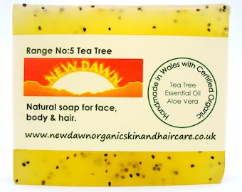 Acne Face Soap ~ Organic Remedy for Blackheads, Pimples & Spots ~ Tea Tree Soap ~ Acne Soap ~ Exfoliating Facial Cleanser