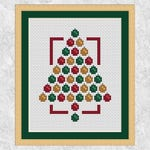 Modern Christmas cross stitch pattern, Christmas tree cross stitch chart, Christmas card, xmas, seasonal, baubles, quick, easy printable PDF