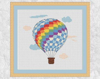 Hot air balloon cross stitch pattern, rainbow counted cross stitch chart, child, baby, nursery, boy, girl, summer, PDF - instant download