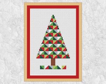 Geometric Christmas Tree cross stitch pattern, quick modern Christmas design, instant download PDF