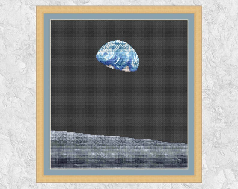 Earthrise astronomy cross stitch pattern Earth over Moon image 0
