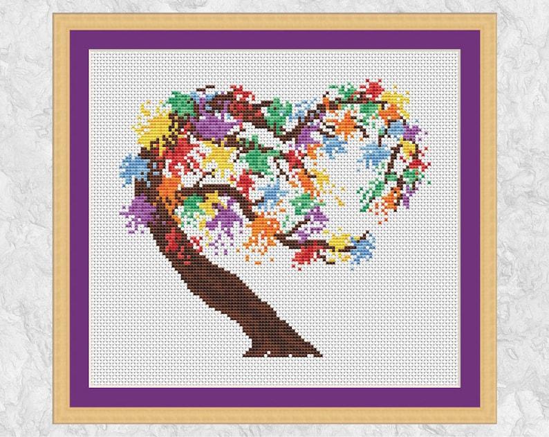 Rainbow Tree Heart cross stitch pattern modern watercolour image 0