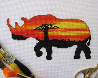 Rhinoceros cross stitch pattern PDF, sunset rhino counted cross stitch chart, African wild safari animal, sunrise, silhouette, printable