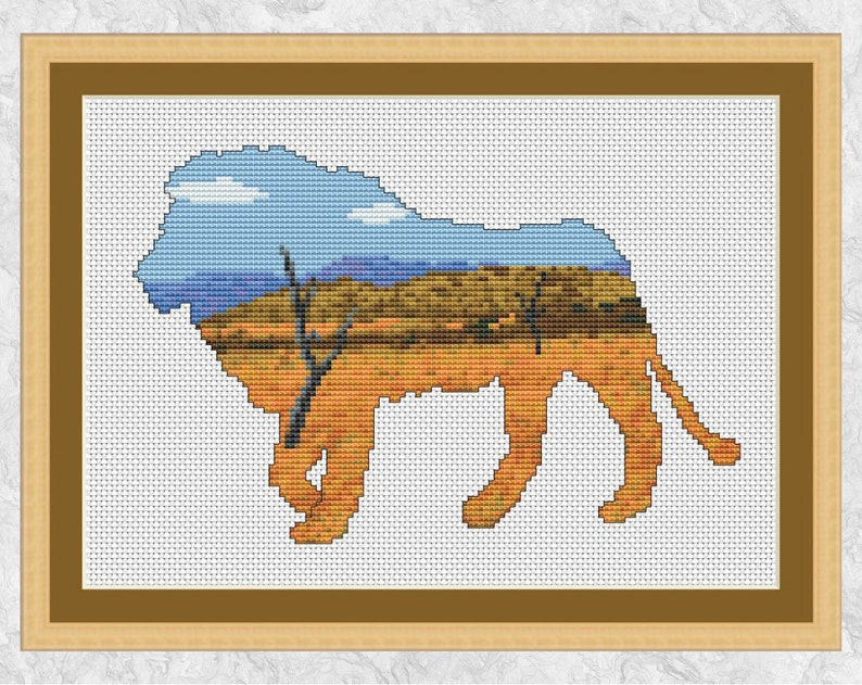 Lion cross stitch pattern african plains Animals at Home image 0