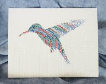 Hummingbird cross stitch pattern, bird counted cross stitch chart, jungle animal, blue ripples sunbird, xstitch design, instant download PDF