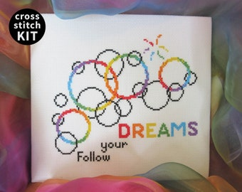 Follow Your Dreams cross stitch kit, modern inspirational quote, bubbles embroidery gift, rainbow needlework kit, full instructions included