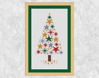 Christmas tree cross stitch pattern, modern stars xmas tree, quick and easy, instant download printable PDF