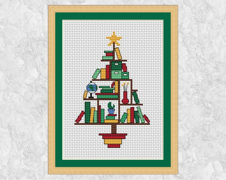 Book Lovers' Christmas Tree cross stitch pattern fun image 0