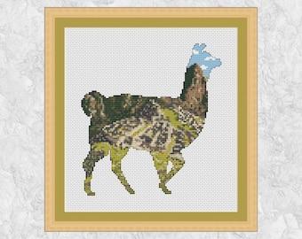 Llama cross stitch pattern, Machu Picchu Peru, South America, ancient city, mountains cross stitch, animal scenery, nature, instant download