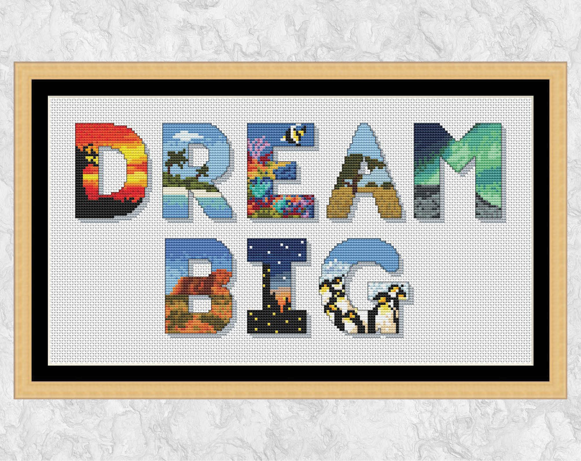 Dream Big Cross Stitch Pattern Travel The World Cross