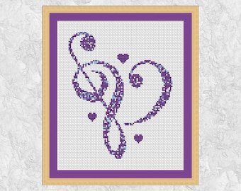 Music cross stitch pattern, modern music heart counted cross stitch chart, treble clef, bass, musical notes, printable instant download PDF