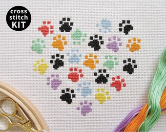 Paw print heart cross stitch kit, gift for dog lover or cat owner, modern embroidery kit, rainbow heart design, animal lover, easy to stitch