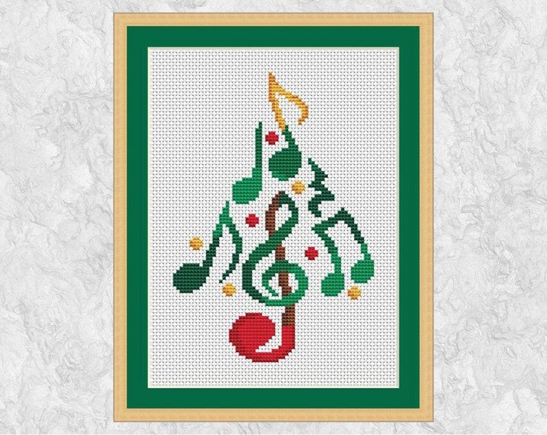 Music Christmas Tree cross stitch pattern modern quick xmas image 0