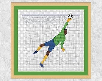 Football cross stitch pattern, modern goalkeeper counted cross stitch chart, goal, footballer, soccer player, team games, printable PDF