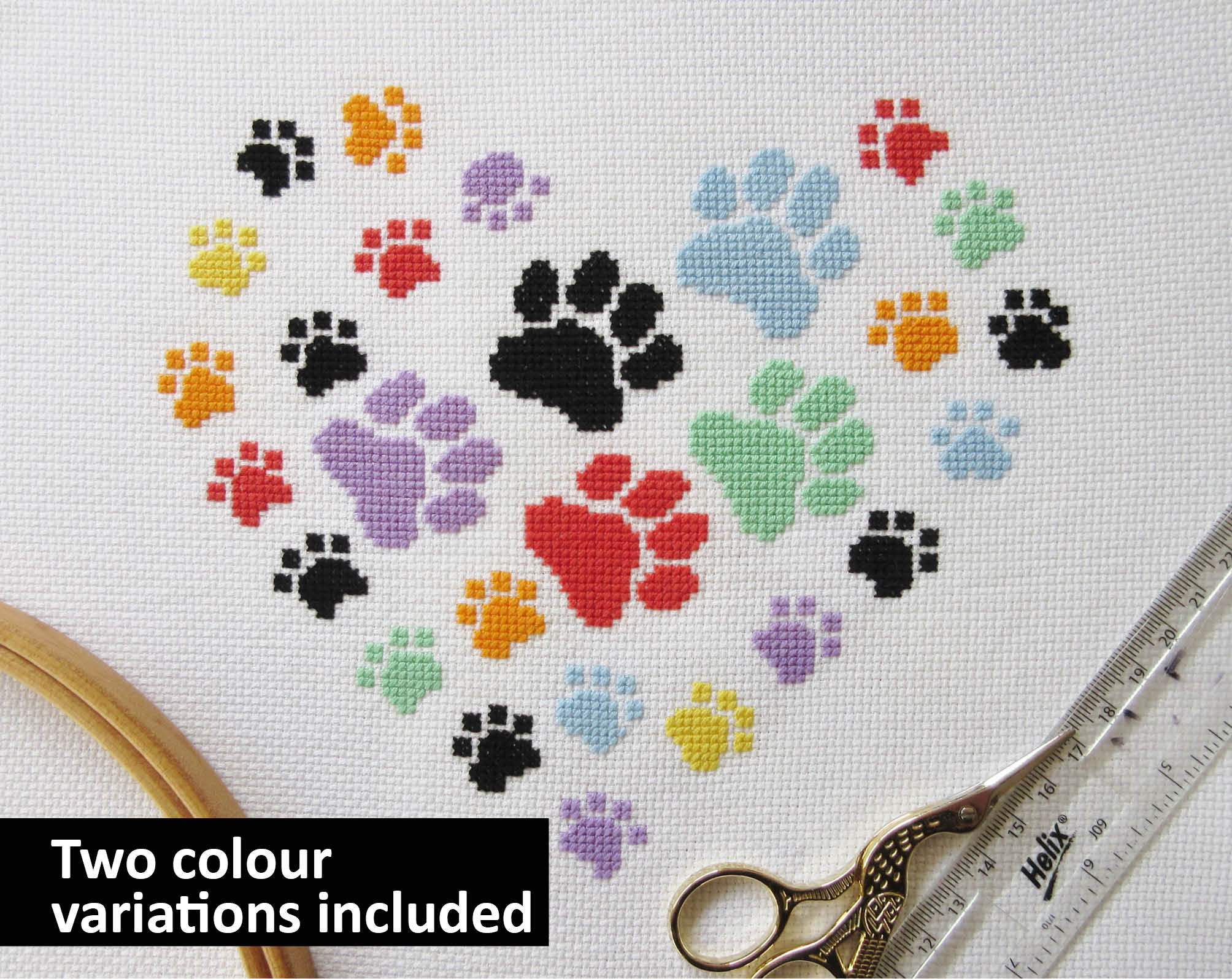 Paw Print Heart Cross Stitch Pattern Modern Gift For Dog