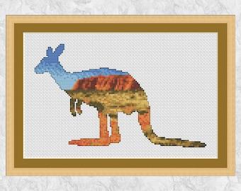 Kangaroo cross stitch pattern, modern Australia counted cross stitch chart, outback, Uluru, Ayers Rock, wild animal, nature, printable PDF