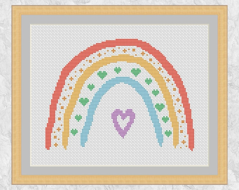 Boho Rainbow cross stitch pattern rainbow and hearts easy image 0