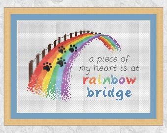 Rainbow bridge cross stitch pattern, dog memorial, cat memorial, pet loss gift, paw prints quote keepsake, animal lover, modern PDF