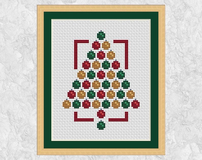 Modern Christmas cross stitch pattern Christmas tree cross image 0
