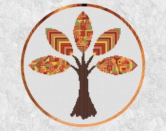 Fall cross stitch pattern, geometric patterned tree, tribal autumn design, hoop art, autumn leaves, counted cross stitch PDF