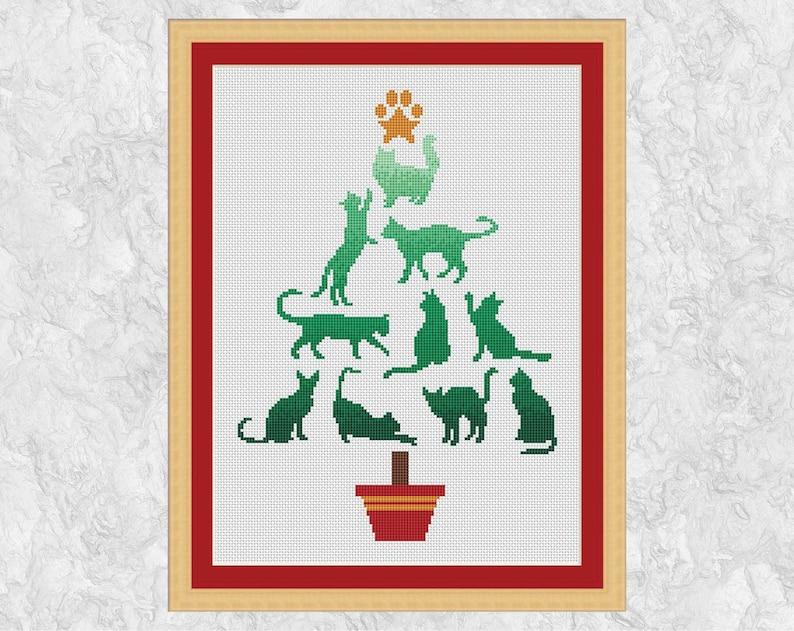 Cat Christmas Tree cross stitch pattern modern pet counted image 0