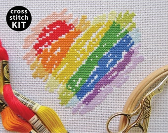 Rainbow heart cross stitch kit, modern embroidery kit, learn to cross stitch, beginner's kit with full instructions, make your own craft