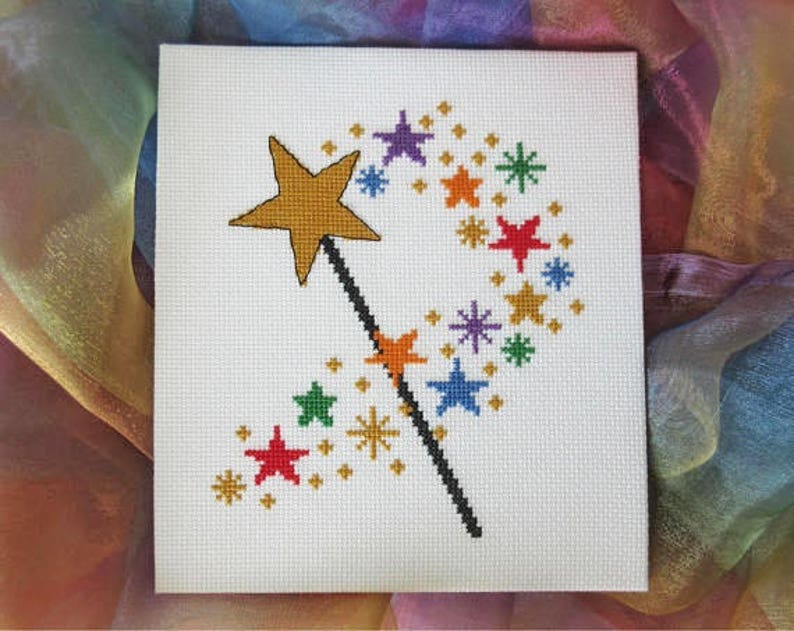 Magic wand cross stitch pattern printable counted cross image 0