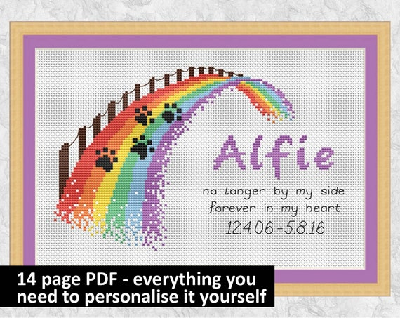 Personalised rainbow bridge cross stitch pattern, everything included to  personalise design yourself, instant download PDF