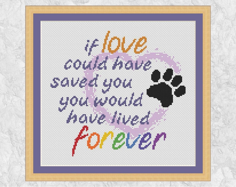 Pet memorial cross stitch pattern paw print quote rainbow image 0