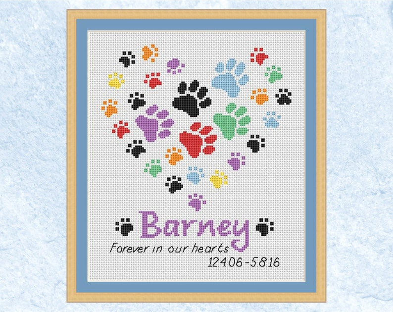 Pet memorial custom cross stitch pattern personalised rainbow image 0