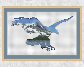 Eagle cross stitch pattern, modern mountain bird silhouette, bald eagle, America, Canada, Rocky Mountains, snow and forest scene, printable