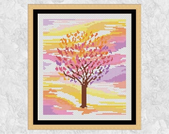Cherry blossom cross stitch pattern, spring tree design, modern watercolour flowers, seasons, nature, gardening - instant download PDF